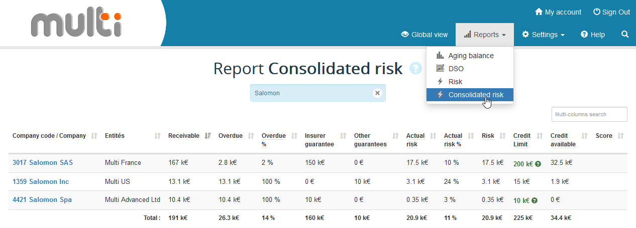 Consolidated multi-entities risk report