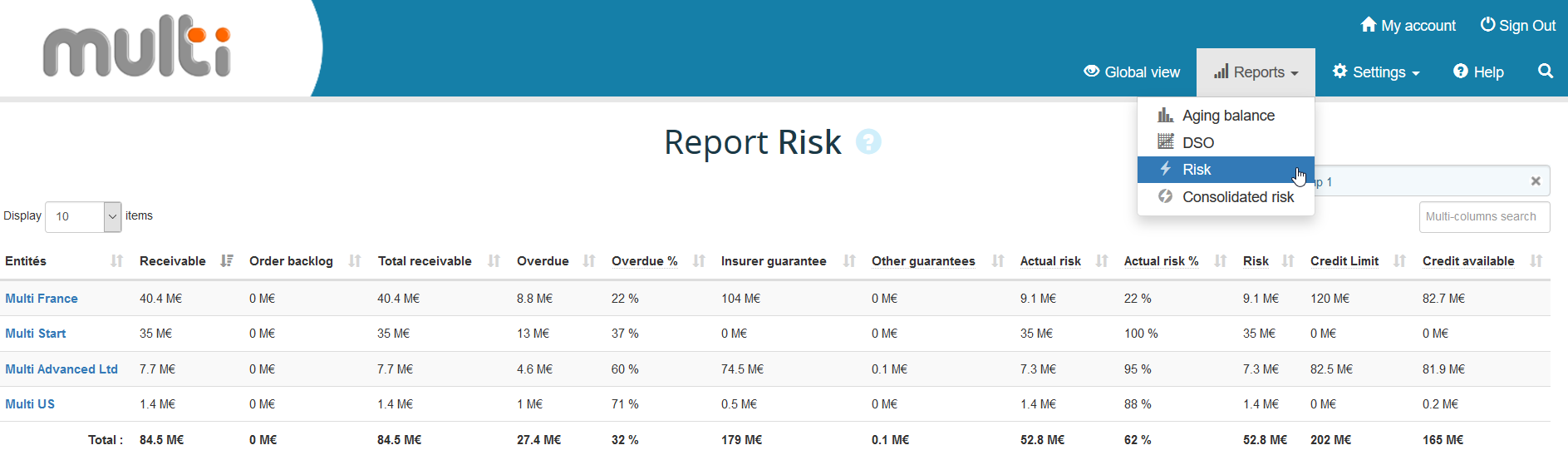 Multi-entity risk report
