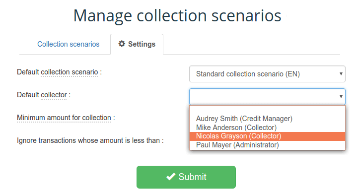 Collection scenario settings