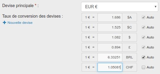 Taux de conversion des devises